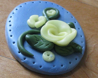 Brooch- Pin Blue with Yellow Flowers Polymer Clay