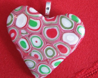 Red and Green Spotted Heart Pendant Christmas Colors