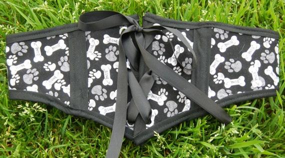 Black with gray swirl print medium dog corset cincher