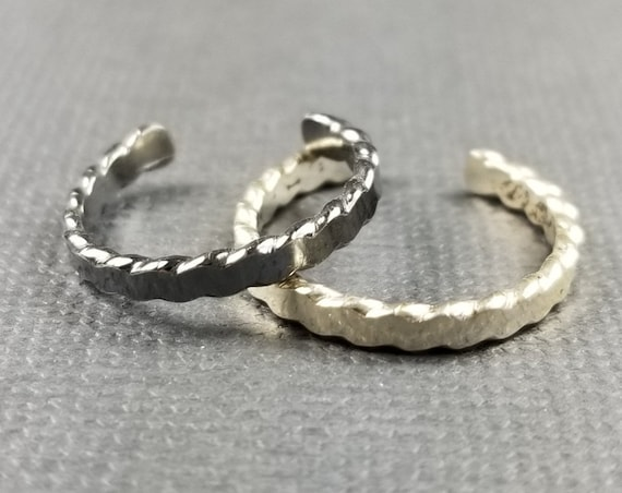 Sterling Silver Toe Ring Flat Twist Wire Body Jewelry Summer Accessory Made in Canada Silver Body Jewelry