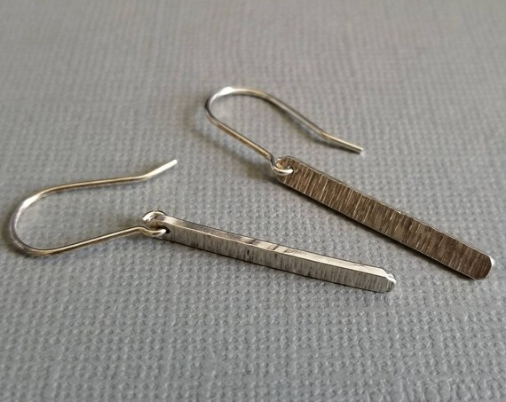 Striated Short Sterling Silver Stick Earrings, Minimalist jewelry, made in canada, short hammered earrings