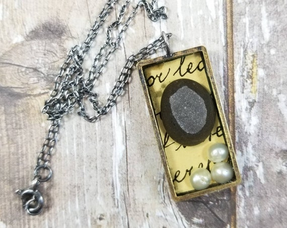 Mixed Media, collaged artwork, resin necklace, No. 2, Lake Erie beach pebble, pearls, vintage script, jewelry grade resin, altered artwork