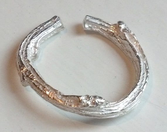 Sterling Silver Twig Toe Ring- Frosted Sterling or Oxidized Sterling Beach Jewelry, Made in Canada