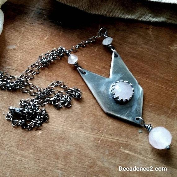 Rose Quartz Chevron Sterling Silver Necklace- Oxidized Silver Rose Quartz
