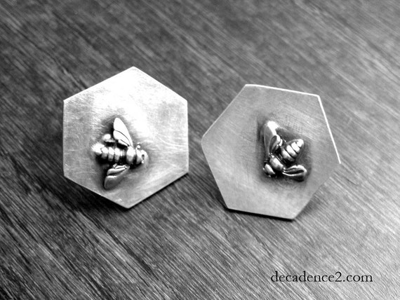 Sterling Silver Bee Honeycomb Cuff Links Mens Gifts Under 100