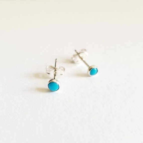 3mm Sleeping Beauty Turquoise Stud Earrings, Blue Earrings, Turquoise Post Earrings, Made in Canada, Simple, modern jewelry