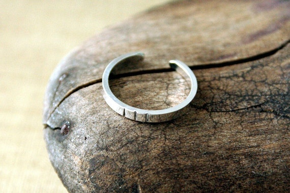 Sterling Silver Toe Ring- Dashes- Skinny Flat-2mm
