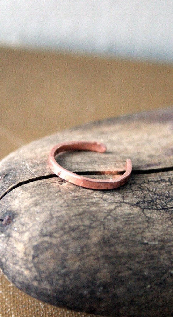Red Copper  Toe Ring- Skinny Flat-2mm