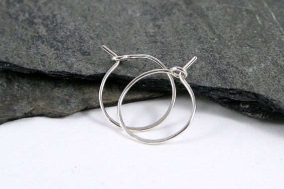 Sterling Silver Sleeper Hoop Earrings in Small - every day earrings