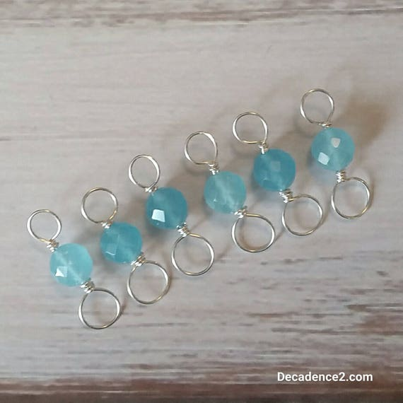 Aqua Blue Quartz, Sterling Silver Double Ended Stitch Markers- Set of 6