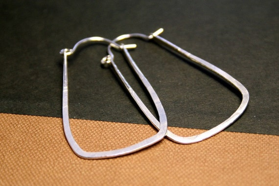 Forged Shiny Sterling Silver Hoops - Stirrup Earrings