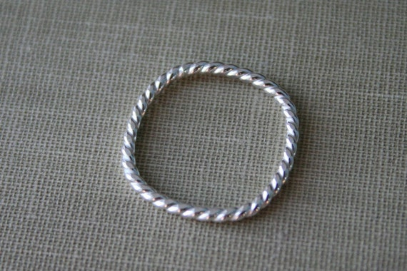 Twist Square Sterling Silver Stacking Ring