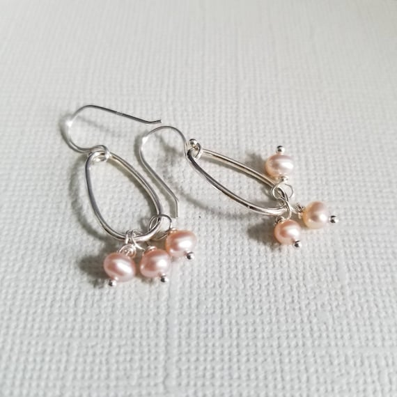 Pink Pearl Sterling Silver Drop Earrings, Oval Earrings, Lightweight Earrings, Delicate Wedding Jewelry, Pretty Earrings, made in Canada