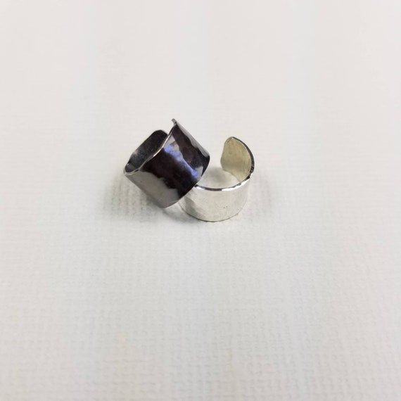 STERLING EARCUFF PAIR Wide Hammered Sterling 925 Silver Band Ear Cuffs