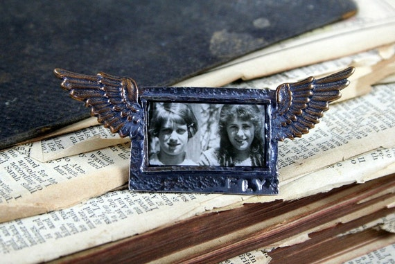 Vintage Girls Photo Collage Brooch Sterling Silver Brass Wings