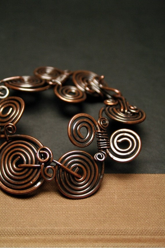 Rustic Copper Coiled Bracelet, Roman Coil Cuff Bracelet, Vintage Style bracelet, handmade jewelry, made in canada