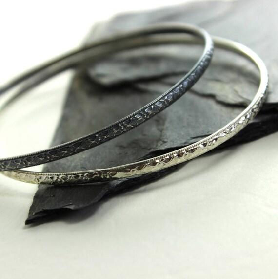 Ornate Diamond Faceted Sterling Silver Bangle Bracelet- Polished, Oxidized Fall Fashion Stacking Bangle