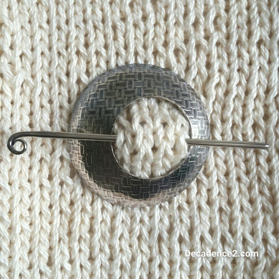 Basket Weave Sterling Silver Shawl Brooch Circle Pin