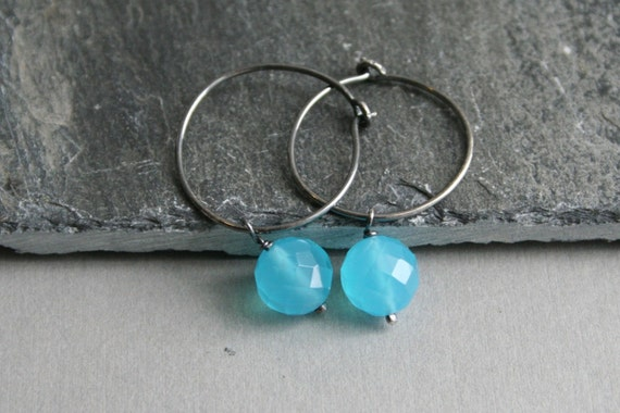 Aqua Blue Quartz & Sterling Silver Hoop Earrings Fashion under 25