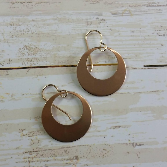 Red Copper Disk Earrings Hoop Dangle Earrings