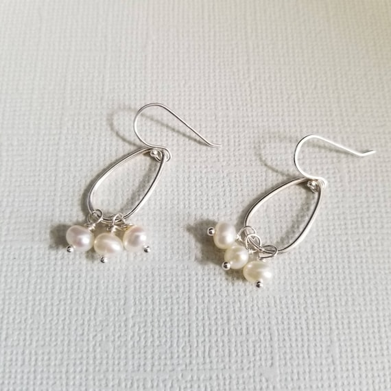 White Pearl Sterling Silver Drop Earrings, Oval Earrings, Lightweight Earrings, Delicate Wedding Jewelry, Pretty Earrings, made in Canada