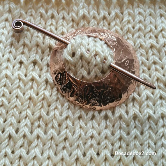 Floral Embossed Copper Shawl Brooch Circle Pin