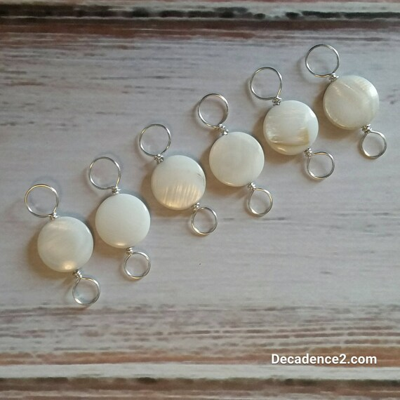 Mother of Pearl, Sterling Silver Double Ended Stitch Markers- Set of 6