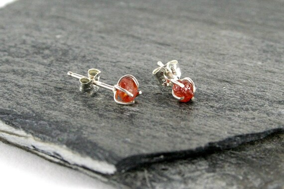Rough Faceted Golden Citrine Sterling Silver Post Earrings