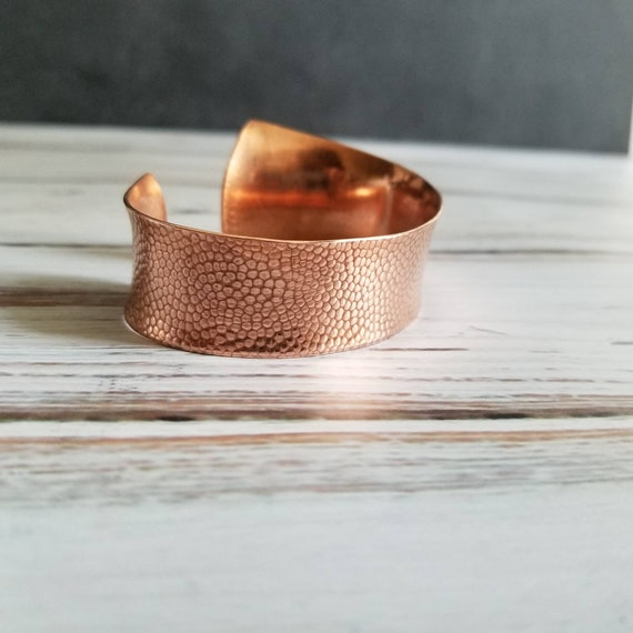 Tapered Hammered Copper Cuff Bangle Bracelet,  dimpled copper cuff, comfort fit