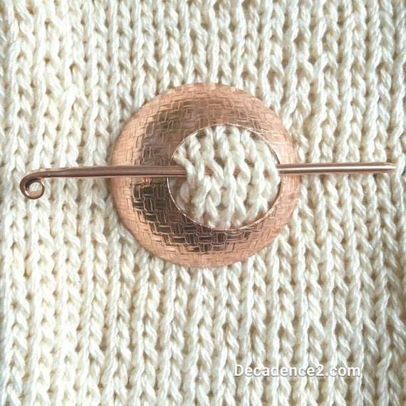 Basket Weave Embossed Copper  Shawl Brooch Circle Pin