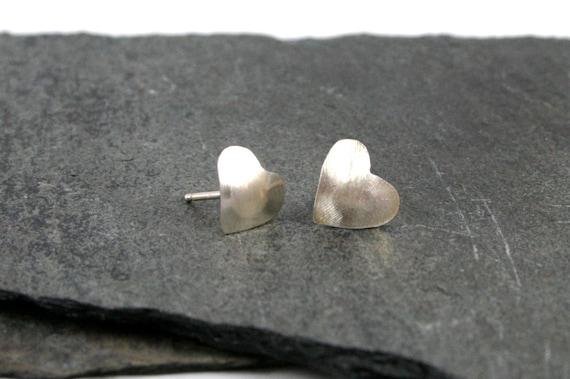 Sterling Silver Matte Finish Brushed Heart Stud Earrings