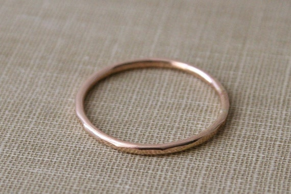 Slim Hammered 14K Yellow Gold Fill Single Stacking Ring