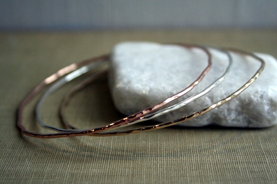 Yellow, Rose Gold Fill, Sterling Silver -3 Bangles Rustic Gypsy Bangles