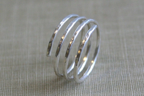 Sterling Spiral Wrap Ring- Shiny Silver