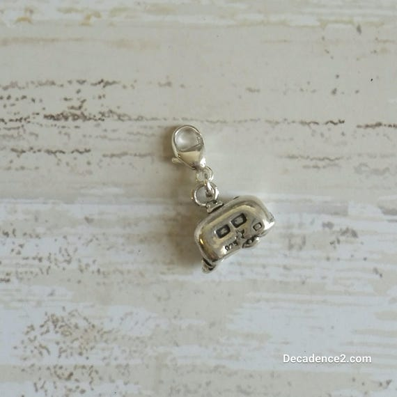 Sterling Silver Travel Trailer, Camper Stitch Marker- Pkg of 1