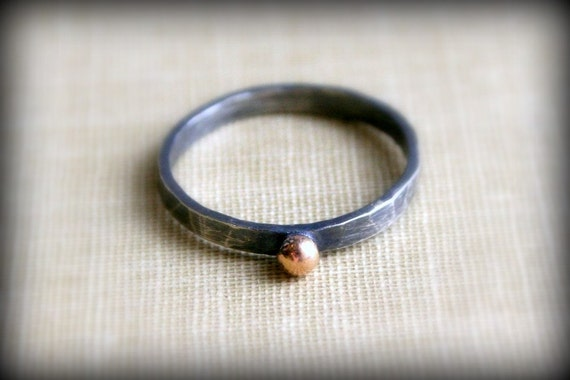 14K Gold Dot, Oxidized Sterling Silver Rustic Ring- Yellow Gold or Rose Gold