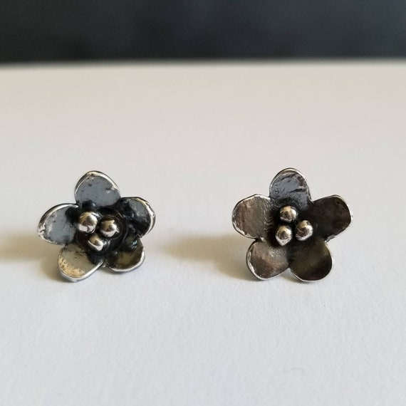 Sterling Silver Flower Post Earrings, Floral Stud Earrings, Silver Earrings, Made in Canada