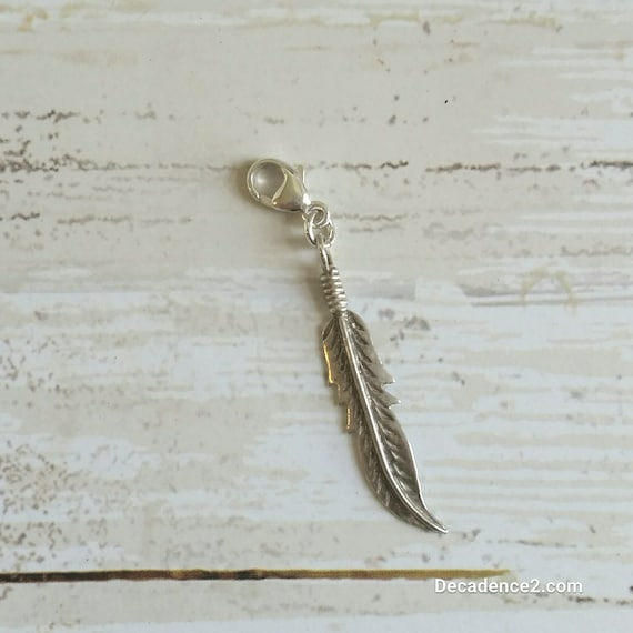 Sterling Silver Feather Stitch Marker- Pkg of 1