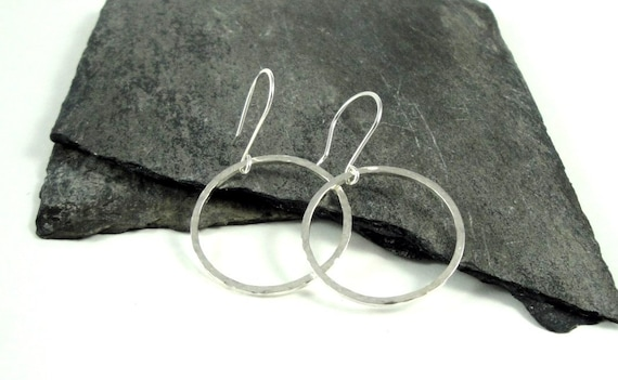 Hammered Round Hoop Sterling Silver Earrings