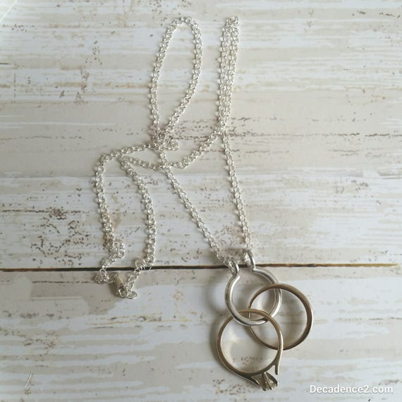 Round Shaped Sterling Silver Ring Keeper with Sterling Silver Chain