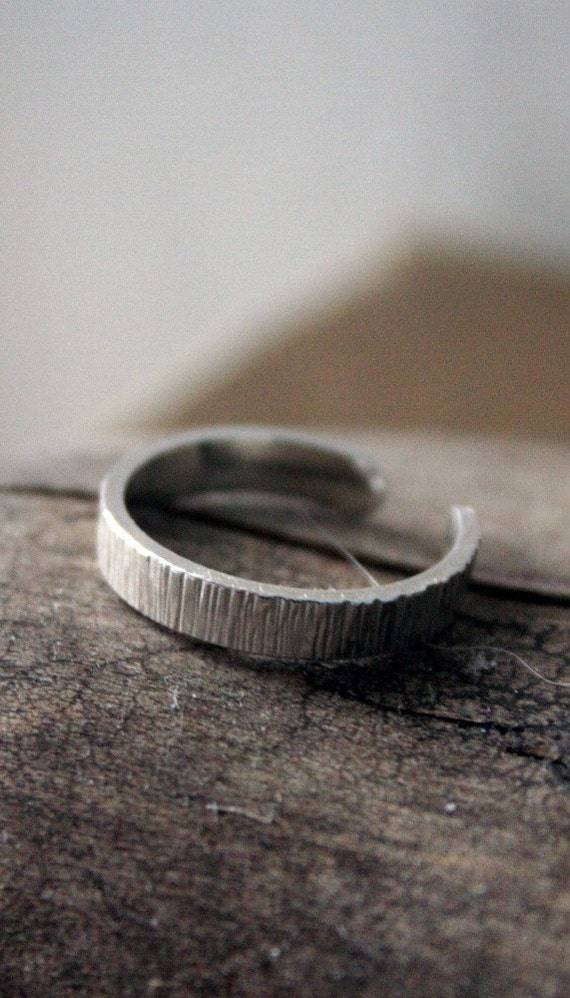 Sterling Silver Toe Ring- Striated Texture- 3mm