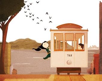 "Cable Car Art, San Francisco Art, Art Print, Home Decor  - ""Cable Car"""