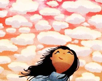 "Happy cloud art, Girls Room Decor, Inspirational Art, Girls Room - ""What a wonderful world"""