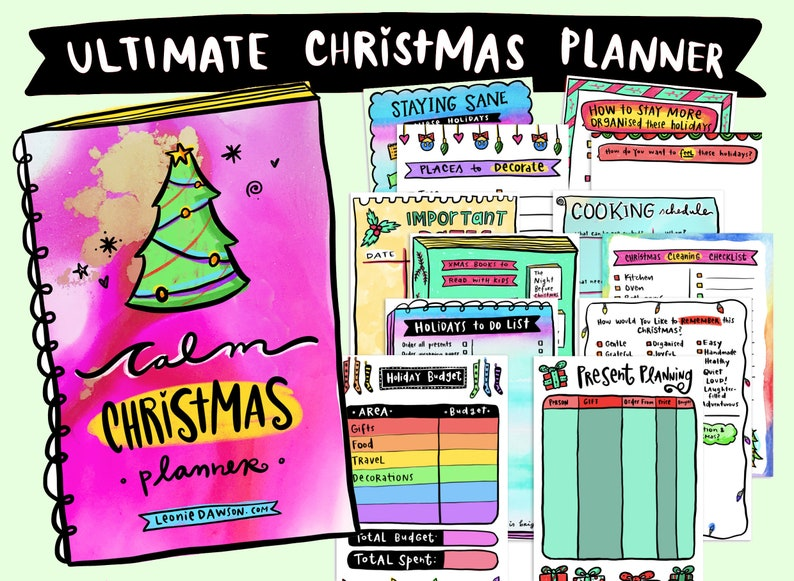 Calm Christmas Printable Planner: Budget Gift Plan Cleaning image 1