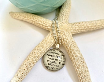 Word of the year Necklace, Round Word Pendant, Book Page Jewelry, Custom Word, Wedding Party Gifts