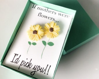 Mothers Day Gift From Daughter - Yellow Daisy Earrings - Yellow Sunflower Jewelry