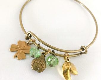 Good Luck Bangle, Lucky Charm Jewelry, Lady Bug Bracelet, Fortune Cookie Bracelet, 4 Leaf Clover Bracelet