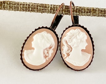 Oval Cameo Earrings - Pink and White Cameo - Copper setting