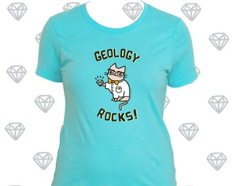 Geologie Shirt Wissenschaft Shirt Frauen Geologie Felsen Shirt für Frauen Geschenke für ihre Wissenschaft Katze Nerdy Girl Shirt Katze Sachen