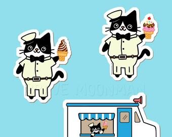 Cute Sticker Pack Ice Cream Cat Kawaii Stickers Laptop Stickers Pack Sticker Set Cute Stickers Ice Cream Stickers Kitty Stickers